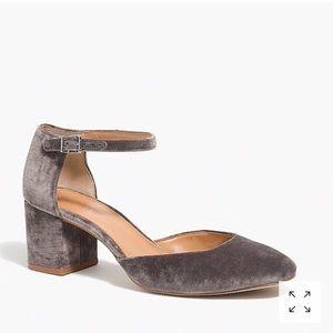 J Crew Factory velvet Mary Jane shoes